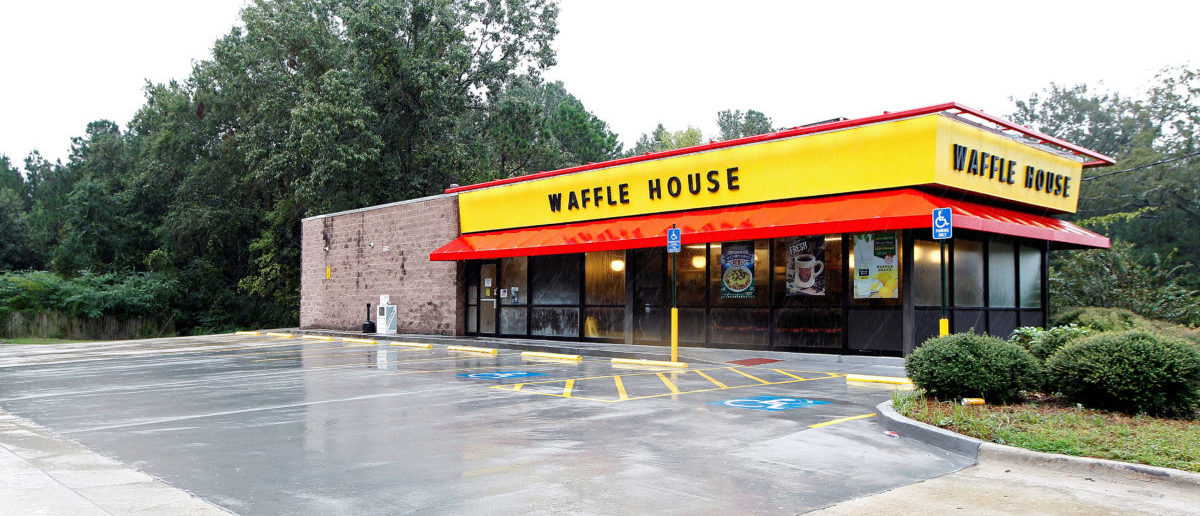 A closed Waffle House restaurant with a deserted parking lot is seen in Savannah, Georgia, U.S., October 7, 2016. The Waffle House Index is an informal way for Federal Emergency Management Agency (FEMA) to determine which areas are deemed to have more disastrous results and require recovery after a storm as all Waffle Houses stay open 24 hours, 365 days a year. REUTERS/Tami Chappell