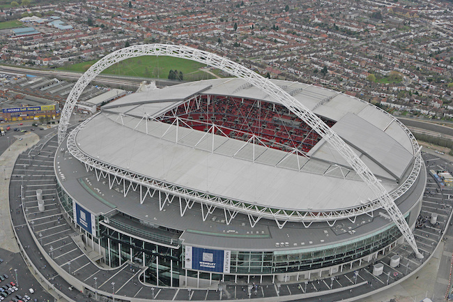 FILE PHOTO: An aerial view of Wembley Stadium is seen on its opening day in London, March 17, 2007. Photo: Action Images / WNSL REUTERS/Action Images/Pool