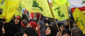 Supporters of Lebanese Hezbollah Leader gather as he delivers a televised speech during a ceremony held by the Shiite party in the capital Beirut, commemorating the party's killed leaders, on February 16, 2018. / AFP PHOTO / JOSEPH EID        (Photo credit should read JOSEPH EID/AFP/Getty Images)