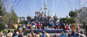Mickey Mouse and his friends celebrate the 60th anniversary of Disneyland park during a ceremony at Sleeping Beauty Castle featuring Academy Award-winning composer, Richard Sherman and Broadway actress and singer Ashley Brown July 17, 2015 (Photo: Paul Hiffmeyer/Disneyland Resort via Getty Images) | Thieves Pilfer $1M In Disneyland Passes