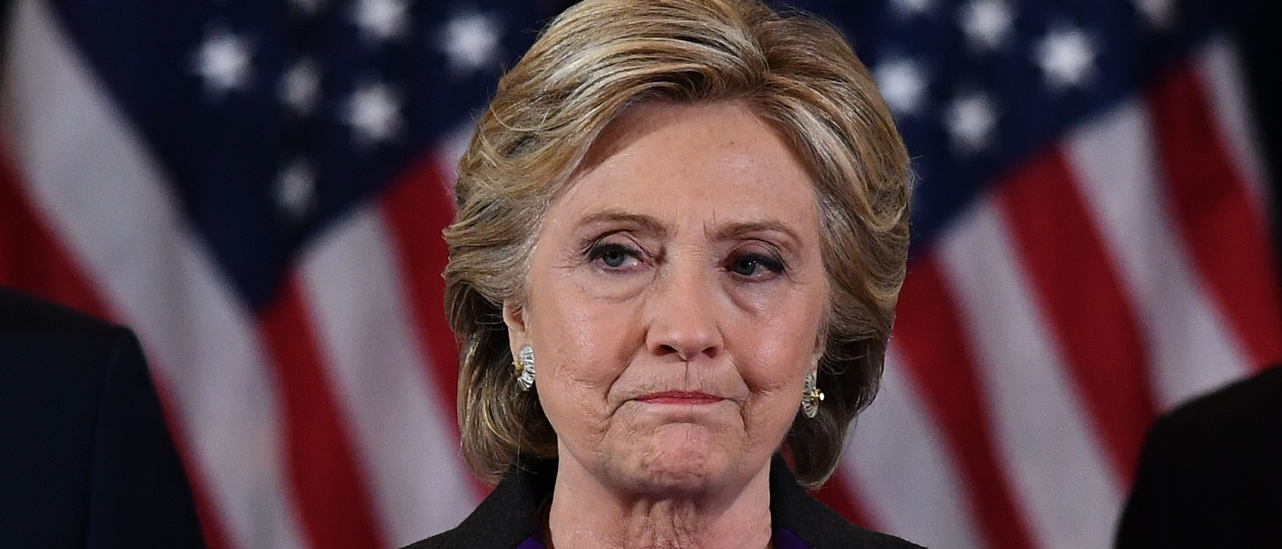 TOPSHOT - US Democratic presidential candidate Hillary Clinton makes a concession speech after being defeated by Republican president-elect Donald Trump in New York on November 9, 2016. / AFP PHOTO / JEWEL SAMAD (Photo credit should read JEWEL SAMAD/AFP/Getty Images)