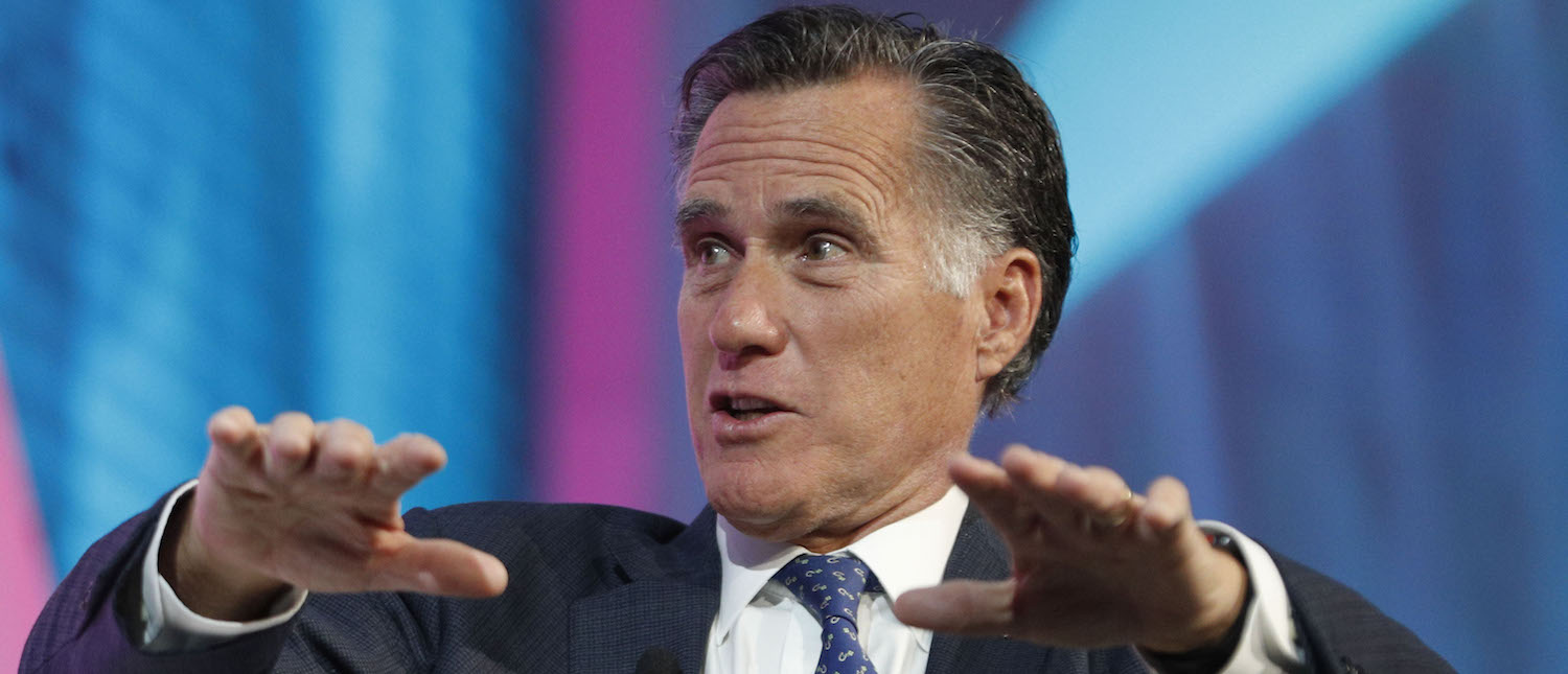 Former Massachusetts Governor and Republican presidential candidate Mitt Romney is interviewed at the Silicon Slopes Tech Conference on January 19, 2018 in Salt Lake City, Utah. (Photo: George Frey/Getty Images) | Romney Faces Tough Path To GOP Nomination