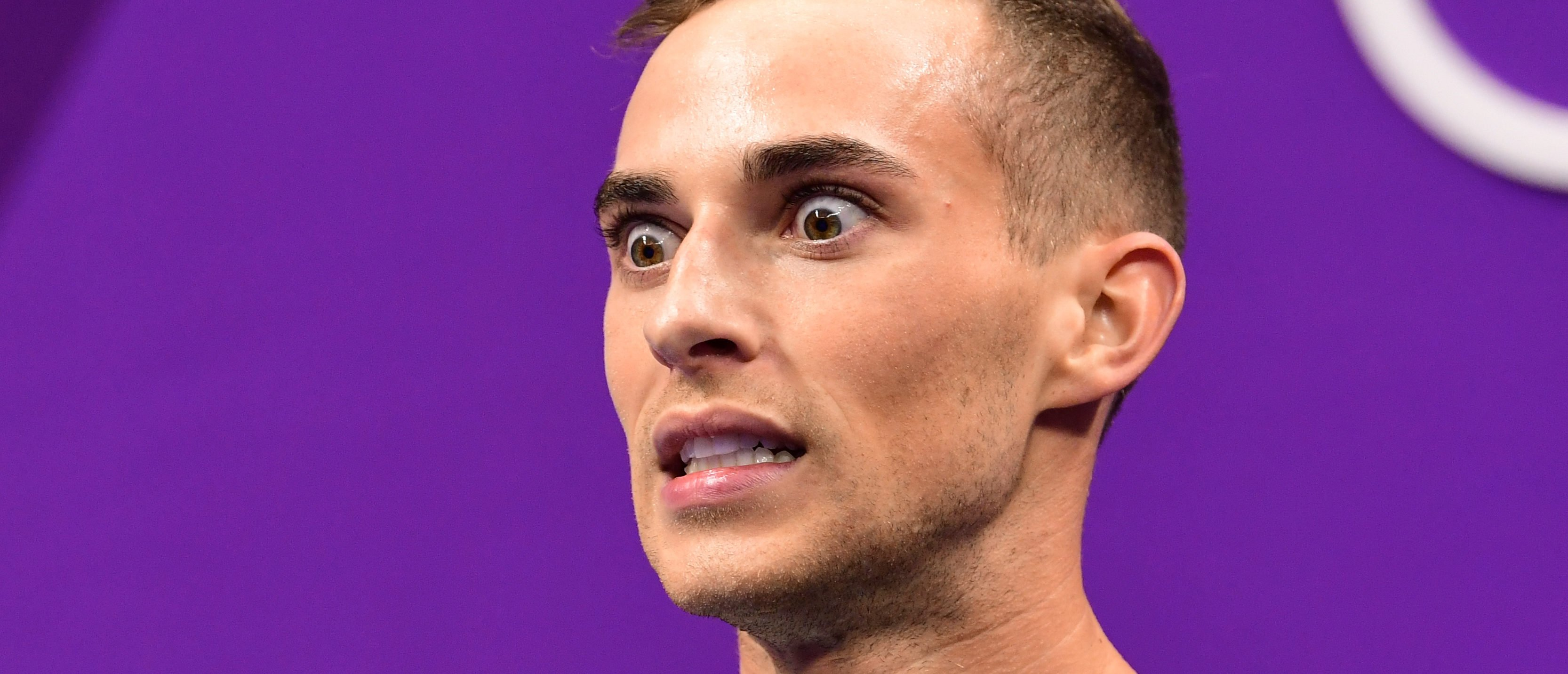 USA's Adam Rippon reacts after competing in the men's single skating free skating of the figure skating event during the Pyeongchang 2018 Winter Olympic Games at the Gangneung Ice Arena in Gangneung on February 17, 2018. / AFP PHOTO / Roberto SCHMIDT (Photo credit should read ROBERTO SCHMIDT/AFP/Getty Images)