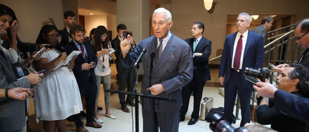 WASHINGTON, DC - SEPTEMBER 26: Roger Stone, former confidant to President Trump speaks to the media after appearing before the House Intelligence Committee during a closed door hearing, September 26, 2017 in Washington, DC. The committee is investigating alleged Russian interference in the 2016 U.S. presidential election. (Photo by Mark Wilson/Getty Images)