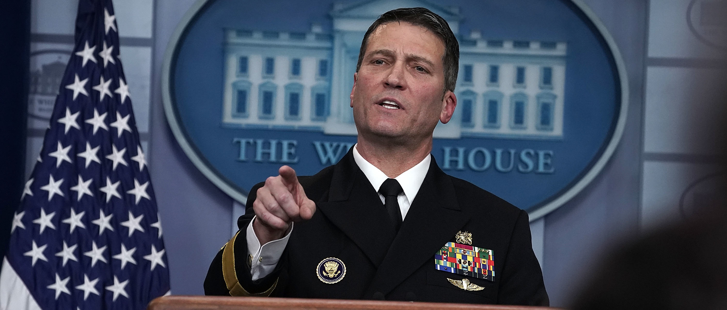 WASHINGTON, DC - JANUARY 16: Physician to U.S. President Donald Trump Dr. Ronny Jackson speaks during the daily White House press briefing at the James Brady Press Briefing Room of the White House January 16, 2018 in Washington, DC. Dr. Jackson discussed the details of President Trump's physical check-up from last week. (Photo by Alex Wong/Getty Images)