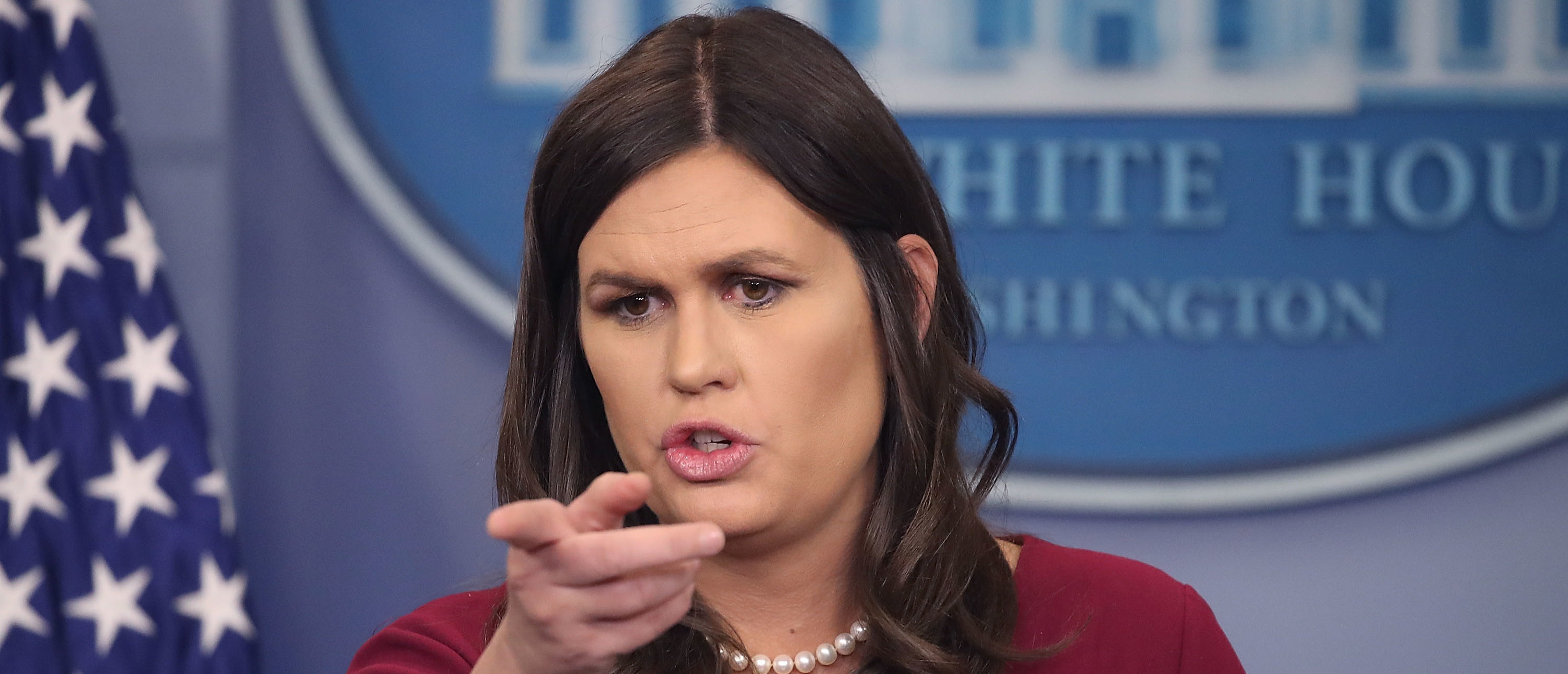 WASHINGTON, DC - APRIL 10: White House Press Secretary Sarah Huckabee Sanders briefs reporters in the White House Briefing Room, on April 10, 2018 in Washington, DC. (Photo by Mark Wilson/Getty Images)