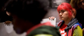 Protestor Ira G. demonstrates inside a Center City Starbucks, where two black men were arrested, in Philadelphia, Pennsylvania U.S., April 16, 2018. REUTERS/Mark Makela   Police Chief Retracts Starbucks Comments