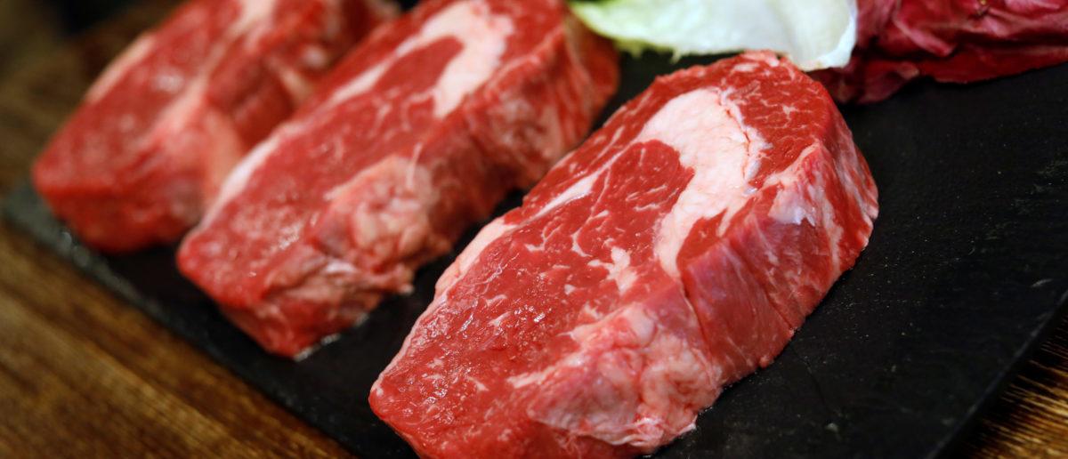 Rib eye steaks are seen at the Cabana Argentina restaurant in Madrid, Spain, July 27, 2017.REUTERS/Juan Medina