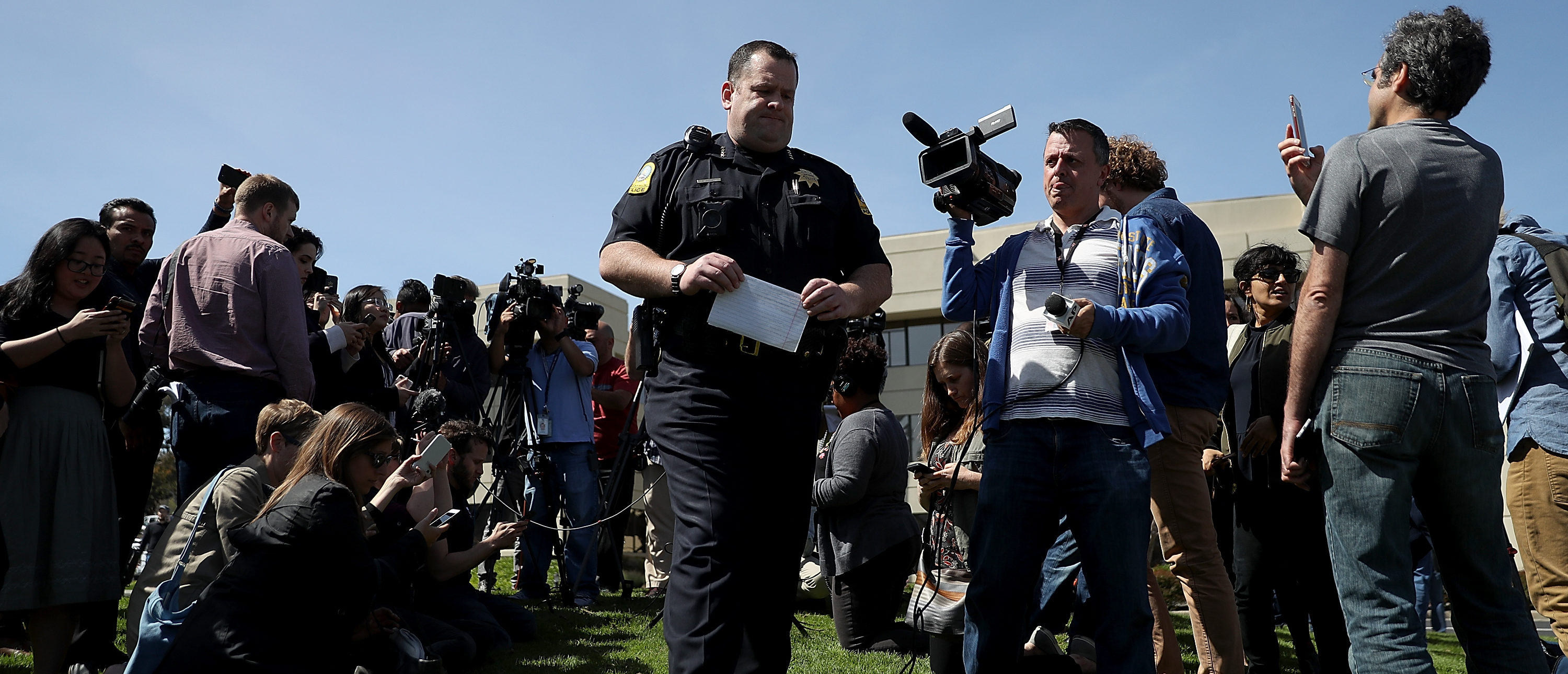 SAN BRUNO, CA - APRIL 03: San Bruno police chief Ed Barberini speaks to members of the media outside of the YouTube headquarters on April 3, 2018 in San Bruno, California. Police are investigating an active shooter incident at YouTube headquarters that has left at least one person dead and several wounded. (Photo by Justin Sullivan/Getty Images)