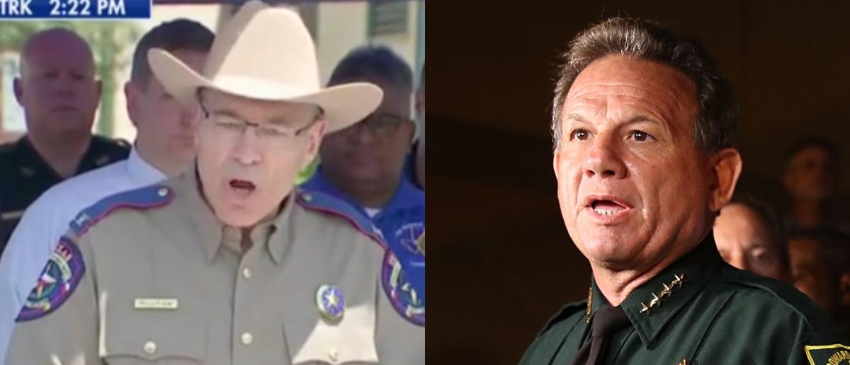 Texas Department of Public Safety director Steve McCraw and Broward County Sheriff Scott Israel (Photo: Screenshot/CNN/Joe Raedle/Getty Images)