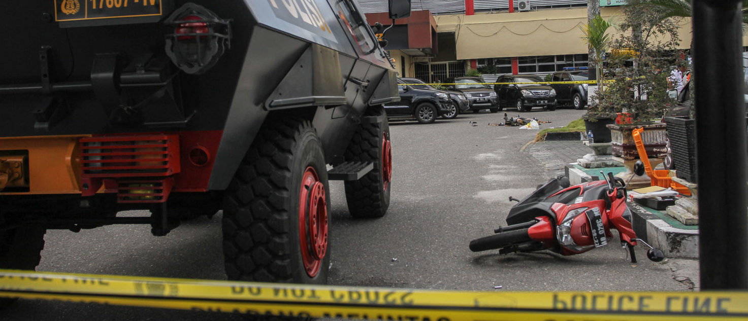 A general view of the scene following an attack at the entrance of a police station in Pekanbaru, Indonesia May 16, 2018 in this photo taken by Antara Foto. Antara Foto/ Rony Muharrman/ via REUTERS