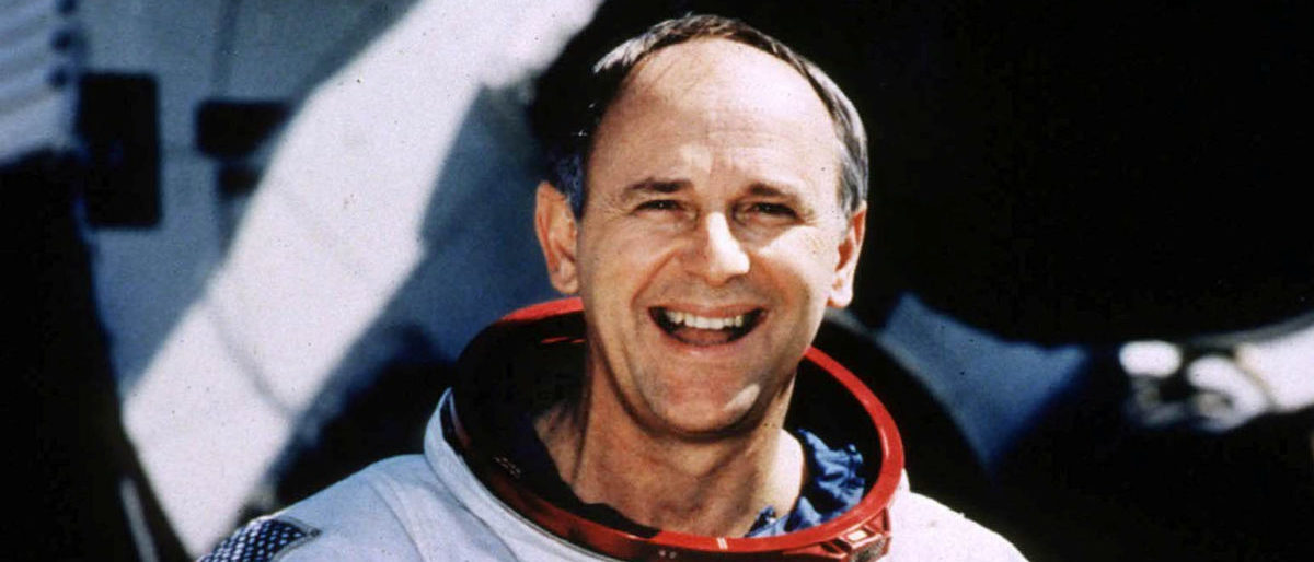 FILE PHOTO: Retired Astronaut Alan Bean, 66, poses for a portrait in his spacesuit at the Johnson Space Center in Houston, Texas, U.S., in this undated photo. Bean, who was the fourth man to walk on the moon in 1969, left NASA in 1981 and made a successful transition from spaceman to a full-time professional artist. REUTERS/Stringer/File Photo