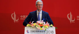 Apple Inc's Chief Executive Officer Tim Cook speaks at the China Development Forum in Beijing, China March 24, 2018. REUTERS/Stringer