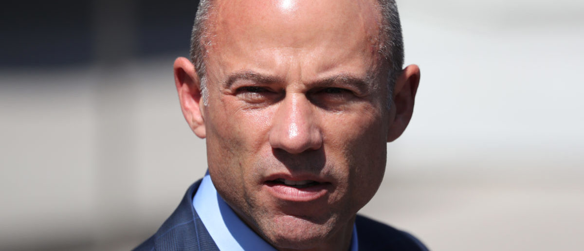 Michael Avenatti, lawyer for adult-film actress Stephanie Clifford, also known as Stormy Daniels, speaks to the media outside the U.S. District Court for the Central District of California after hearing regarding Clifford's case against Donald J. Trump in Los Angeles, California, April 20, 2018. REUTERS/Lucy Nicholson - HP1EE4K1D96UR