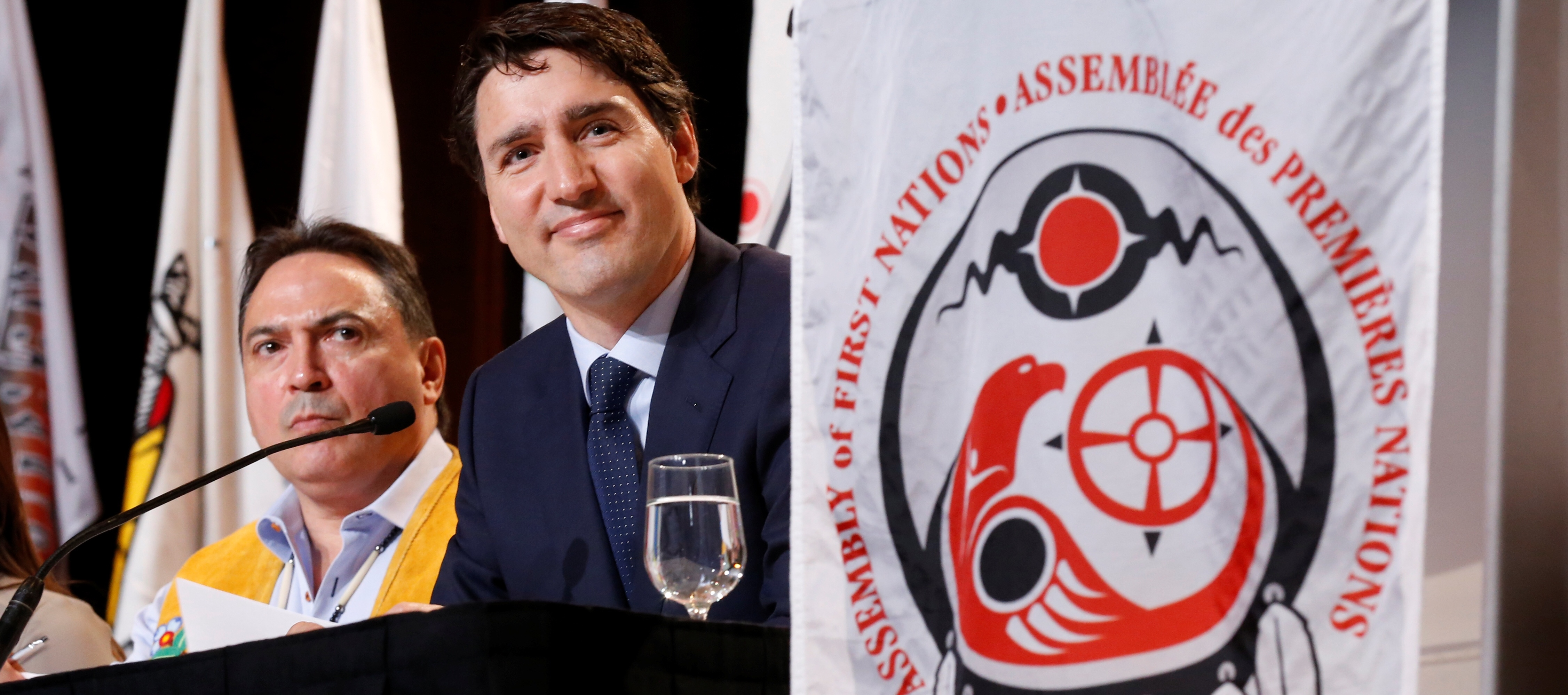 Canada's Prime Minister Justin Trudeau and National Chief Perry Bellegarde attend the Assembly of First Nations, Special Chiefs Assembly in Gatineau, Quebec, Canada, May 2, 2018. REUTERS/Chris Wattie - RC1E4F612FC0