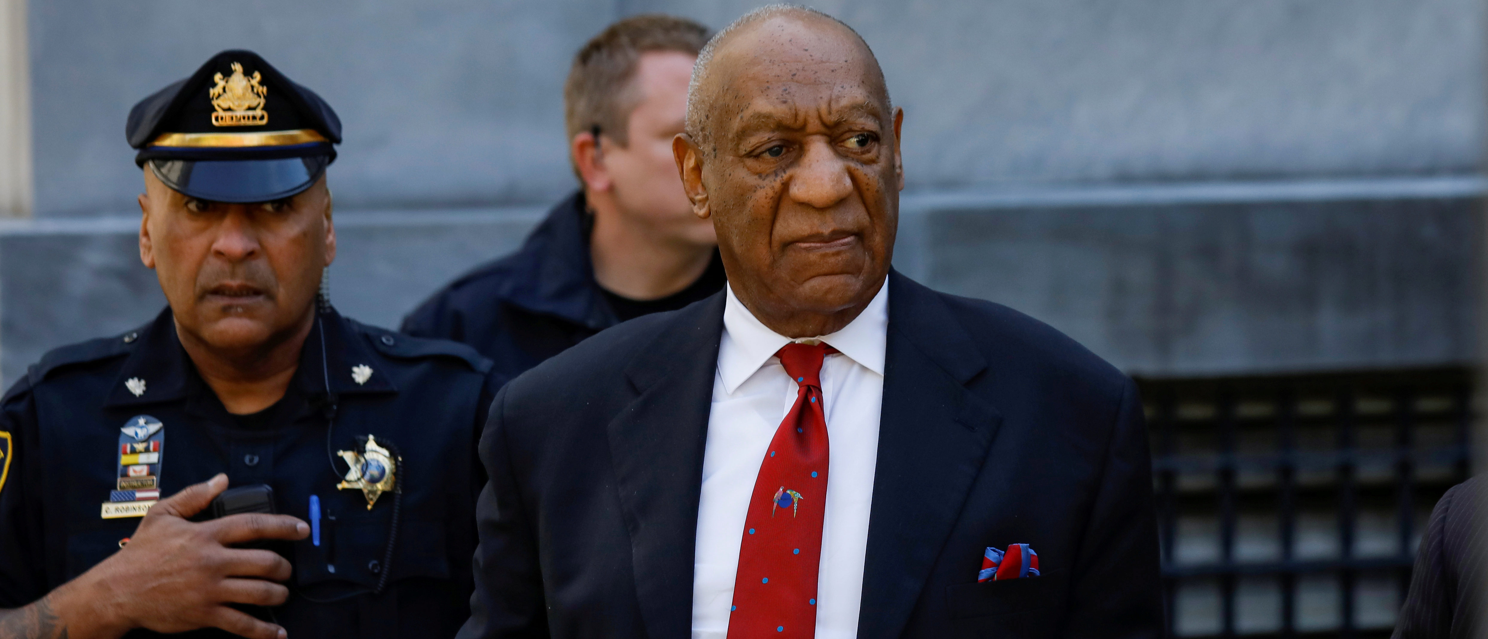 FILE PHOTO: Actor and comedian Bill Cosby exits the Montgomery County Courthouse after a jury convicted him in a sexual assault retrial in Norristown, Pennsylvania, April 26, 2018. REUTERS/Brendan McDermid/File Photo
