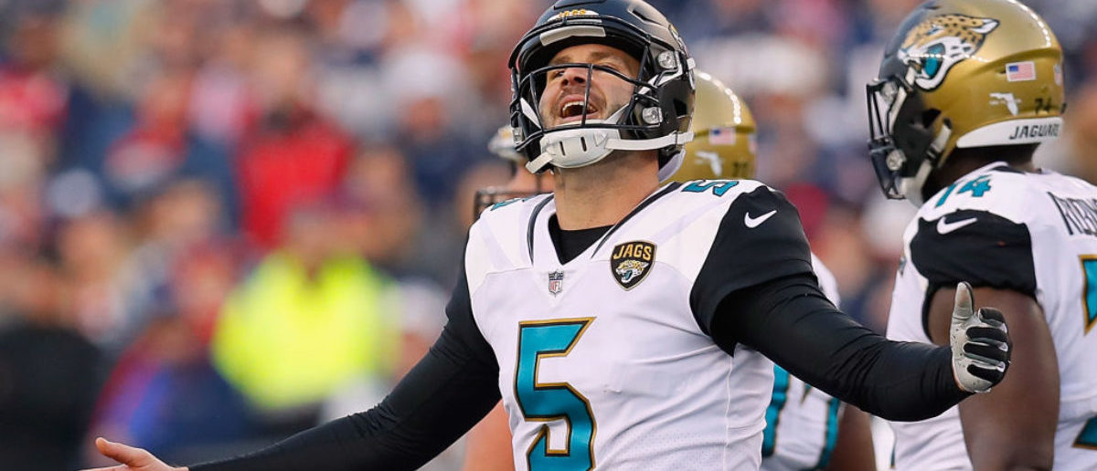 FOXBOROUGH, MA - JANUARY 21: Blake Bortles #5 of the Jacksonville Jaguars reacts after a penalty call in the second quarter during the AFC Championship Game against the New England Patriots at Gillette Stadium on January 21, 2018 in Foxborough, Massachusetts. (Photo by Kevin C. Cox/Getty Images)