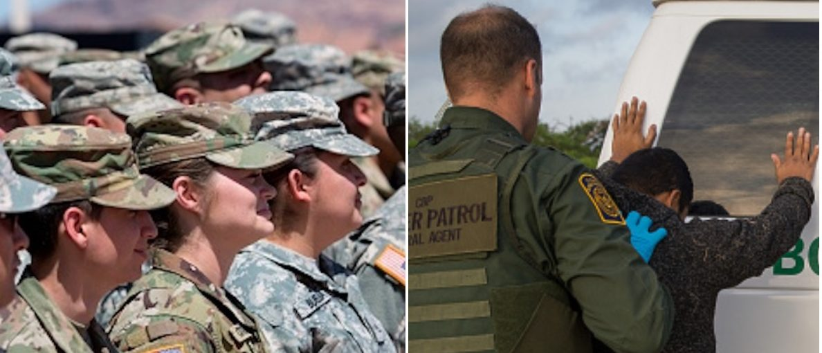 Border Patrol agents apprehend illegal immigrants:Members of the Arizona National Guard listen:Getty Images