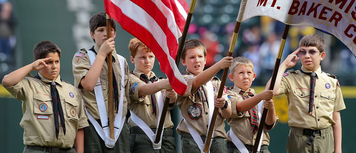 SEATTLE - SEPTEMBER 19: Members of the Boy Scouts of America participate in pre-game ceremonies prior to the game between the Seattle Mariners and the Texas Rangers at Safeco Field on September 19, 2010 in Seattle, Washington. The Mariners won 2-1. (Photo by Otto Greule Jr/Getty Images)