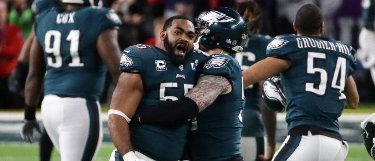 MINNEAPOLIS, MN - FEBRUARY 04: Brandon Graham #55 of the Philadelphia Eagles celebrates after stripping the ball from Tom Brady #12 of the New England Patriots late in the fourth quarter in Super Bowl LII at U.S. Bank Stadium on February 4, 2018 in Minneapolis, Minnesota. (Photo by Jonathan Daniel/Getty Images)