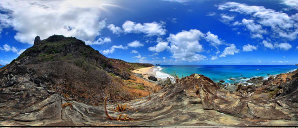 Elevated panorama of Fernando de Noronha Island on May 21, 2010 in Fernando de Noronha, Brazil. (Photo by Marcio Cabral/360cities.net via Getty Images)