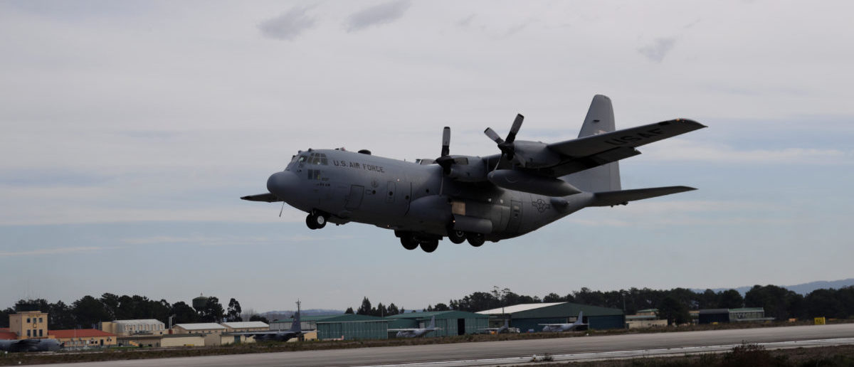 A C-130 Hercules takes off during the Real Thaw 2018 exercise at Air Base number 5 in Monte Real, Portugal February 6, 2018. REUTERS/Rafael Marchante