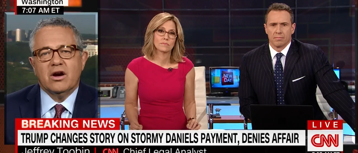 """CNN continued to beat the drum for the Stormy Daniels payoff story Thursday on """"New Day,"""" but admitted there's no proof of a crime being committed. (Photo: New Day 5-3-18/ Screenshot/CNN)"""