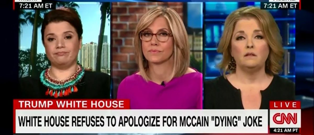 "CNN commentator Ana Navarro said the White House is ""irritated"" by the fact that GOP Sen. John McCain of Arizona hasn't succumbed to his cancer yet and chastised the staff for making light of his disease, Tuesday on ""New Day."" (Photo: Screenshot/CNN)"