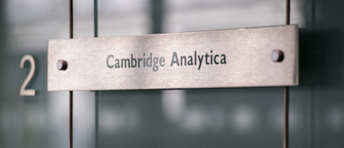 LONDON, ENGLAND - MARCH 21: Signs for company Cambridge Analytica in the lobby of the building in which they are based on March 21, 2018 in London, England. UK authorities are currently seeking a warrant to search the premises of Cambridge Analytica after the company has been involved in a row over its use of Facebook data. Their CEO Alexander Nix has since been suspended. (Photo by Chris J Ratcliffe/Getty Images)