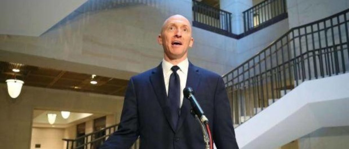 Former Trump campaign adviser Carter Page following Nov. 2, 2017 testimony before the House Intelligence Committee. (Mark Wilson/Getty Images)