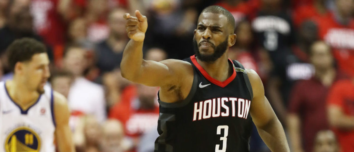 HOUSTON, TX - MAY 24: Chris Paul #3 of the Houston Rockets reacts against the Golden State Warriors in the fourth quarter of Game Five of the Western Conference Finals of the 2018 NBA Playoffs at Toyota Center on May 24, 2018 in Houston, Texas. (Photo by Ronald Martinez/Getty Images)