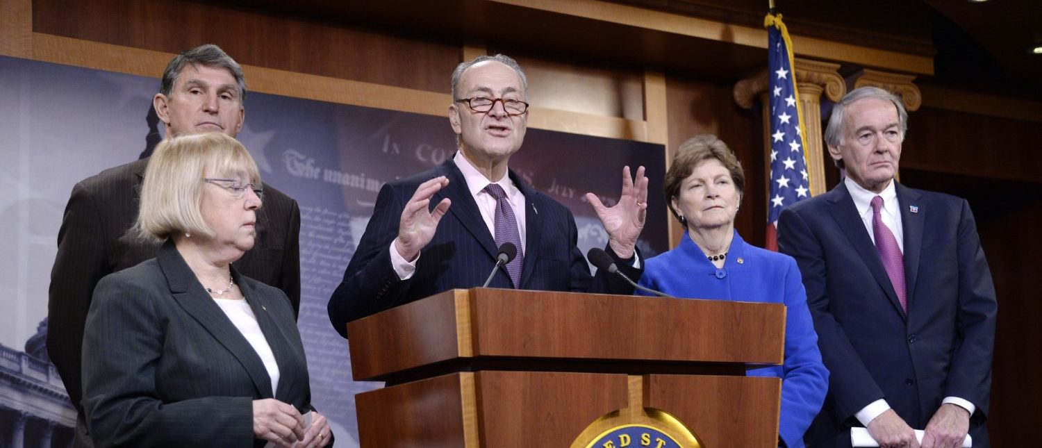WASHINGTON, DC - FEBRUARY 11: (L-R) Senators Patty Murray (D-WA), Joe Manchin (D-WV), Chuck Schumer (D-NY), Jeanne Shaheen (D-NH) and Ed Markey (D-MA) attend a press conference at the U.S Capitol on February 11, 2016 in Washington, DC. The senators are calling on senate Republicans to support the passage of emergency funding to tackle the prescription opioid and heroin crisis. (Photo by Olivier Douliery/Getty Images)