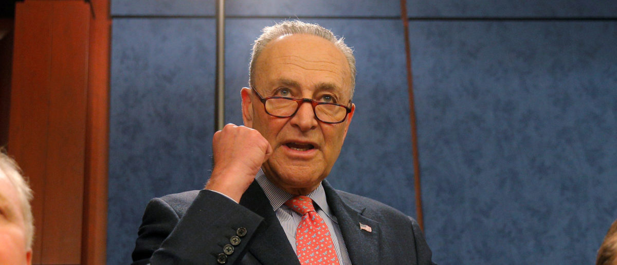 Senate Minority Leader Chuck Schumer joins Democratic Senators at a forum on gun violence at the CapitolVisitors Center in Washington, DC, U.S., March 7, 2018. REUTERS/Brian Snyder