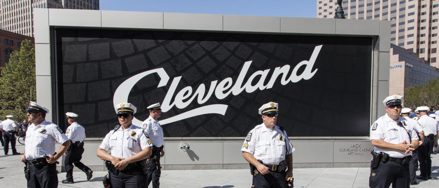 Police in front of the Cleveland Sign at the Republican National Convention July 19, 2016. [Shutterstock - John McGraw]