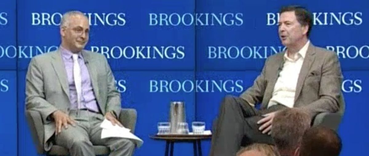 Benjamin Wittes interviews James Comey at Brookings Institution, May 11, 2018. (CSPAN)