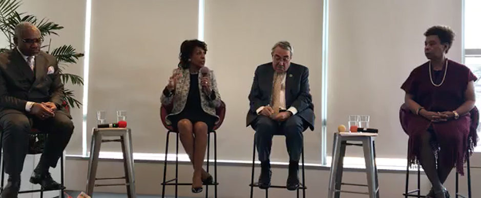Congressional Black Caucus members at Lyft's San Fransisco headquarters. From left to right: Maxine Waters, G.K. Butterfield, Barbara Lee. Video screenshot, Congressional Black Caucus (Facebook: May 2, 2018)