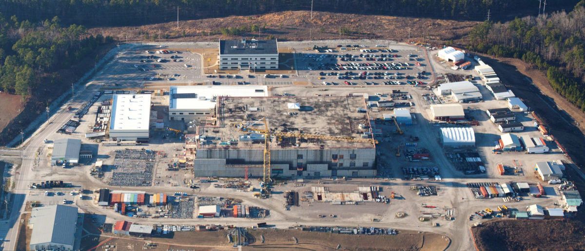 The U.S. Energy Department's Savannah River Site, with the unfinished building which was meant to make plutonium safe but now may not be finished until 2048, is seen in this aerial image, taken near Aiken, South Carolina, U. S. January 31, 2018. To match Special Report USA-NUKES/PLUTONIUM High Flyer © 2018/Handout via REUTERS