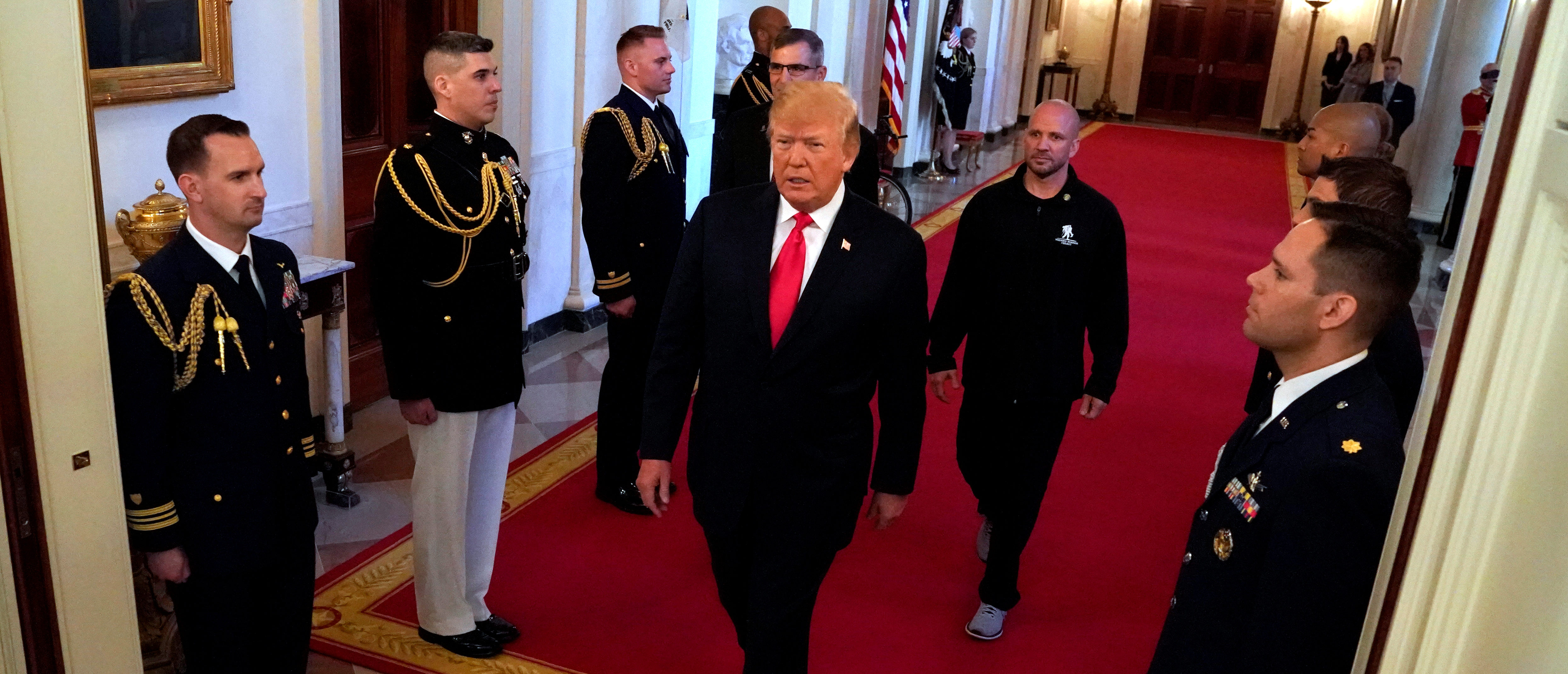 President Donald Trump arrives for a Wounded Warrior Project Soldier Ride event at the White House in Washington. April 26, 2018. REUTERS/Kevin Lamarque