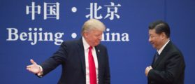 "US President Donald Trump (L) gestures next to China's President Xi Jinping during a business leaders event at the Great Hall of the People in Beijing on November 9, 2017. Donald Trump urged Chinese leader Xi Jinping to work ""hard"" and act fast to help resolve the North Korean nuclear crisis, during their meeting in Beijing on November 9, warning that ""time is quickly running out"". (Photo: NICOLAS ASFOURI/AFP/Getty Images) 