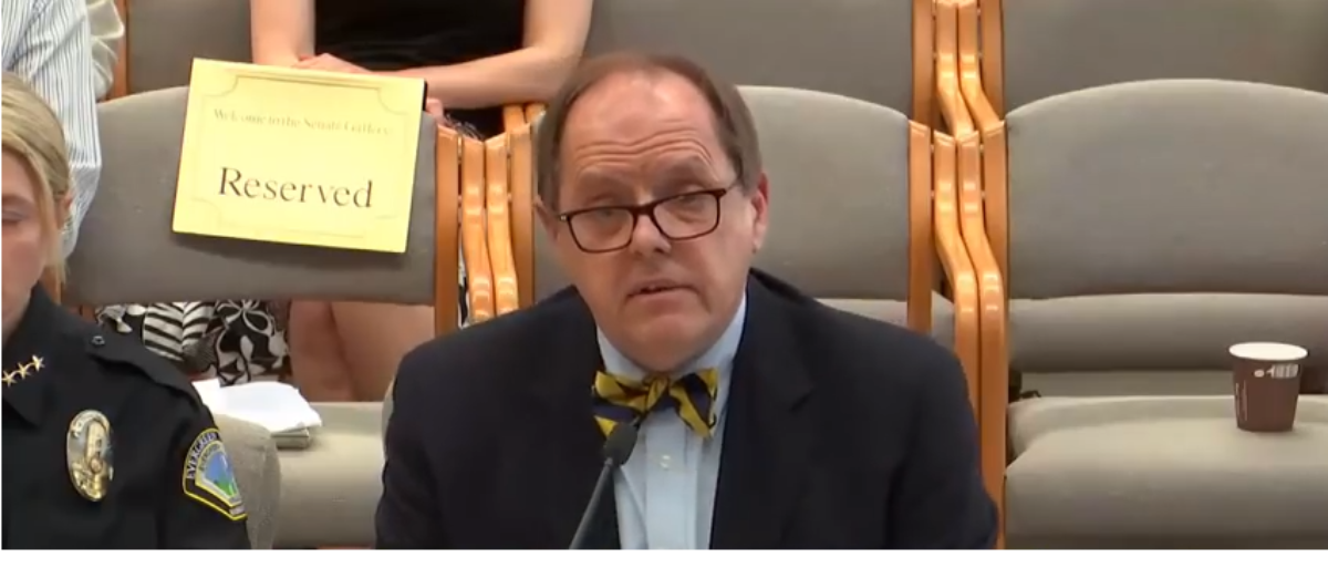 The Evergreen State College president George Bridges addresses the Washington state Senate Law and Justice Committee. (Photo Credit: Screenshot, YouTube/Disturbing Trends)