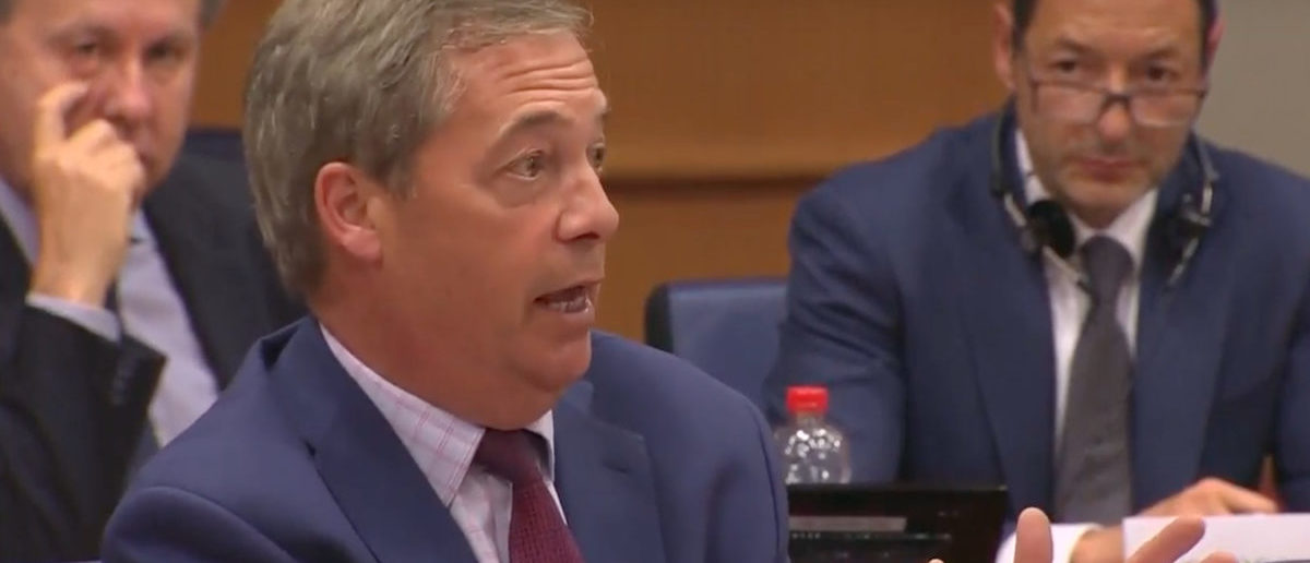 Nigel Farage questions Facebook CEO Mark Zuckerberg during a European Parliament meeting on May 22, 2018. (Photo: YouTube screenshot)