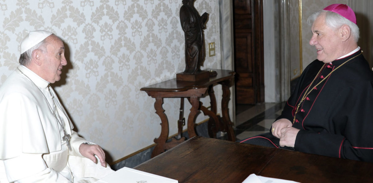 This handout photograph provided by Osservatore Romano shows Pope Francis (L) speaking with archbishop Gerhard Ludwig Müller, prefect of the Congregation for the Doctrine of the Faith during a private audience at the Vatican on April 5, 2013. OSSERVATORE ROMANO/AFP/Getty Images   Former Vatican Official Blasts Homophobia