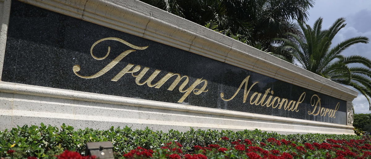 DORAL, FL - JUNE 01: A sign reading Trump National Doral is seen on the grounds of the golf course owned by Republican presidential candidate Donald Trump on June 1, 2016 in Doral, Florida. (Photo by Joe Raedle/Getty Images)