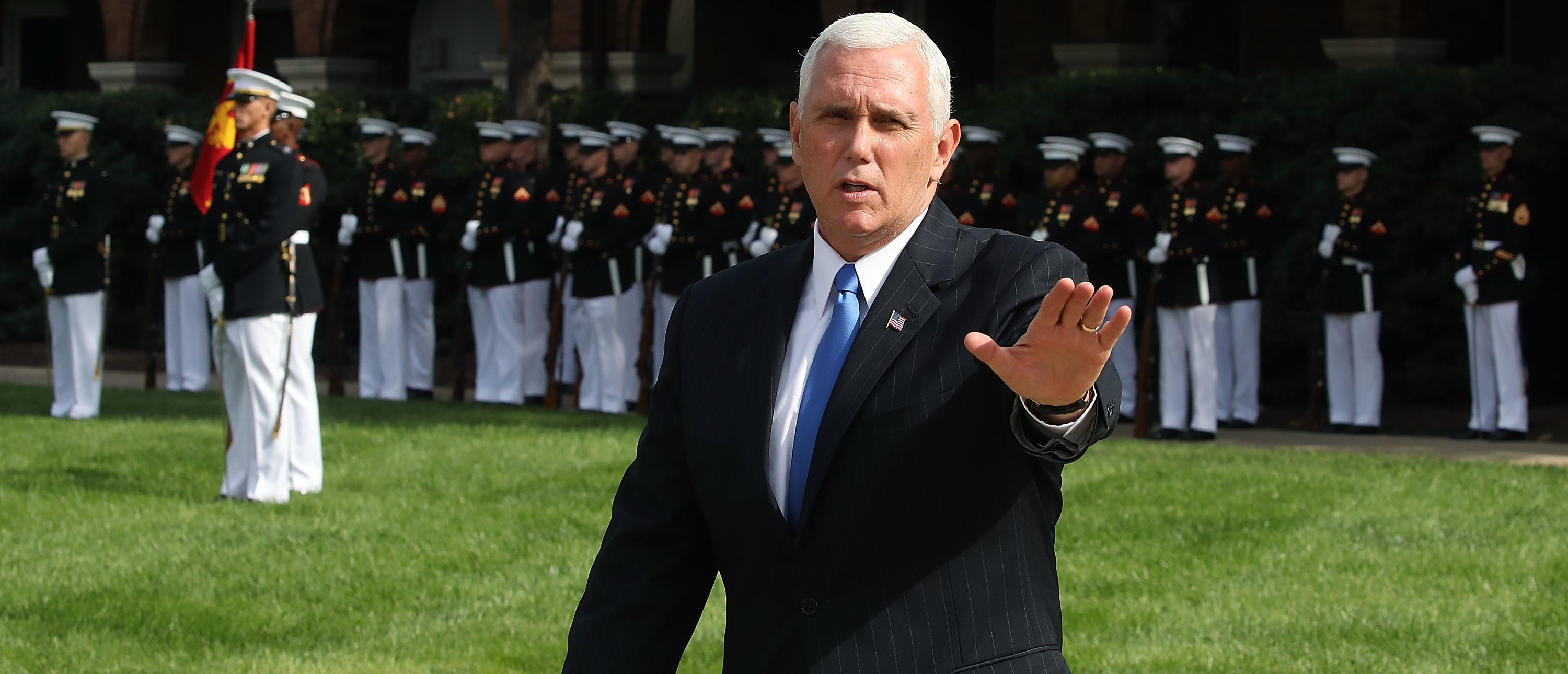 WASHINGTON, DC - OCTOBER 23: U.S. Vice President Mike Pence participates in a ceremony to commemorate the anniversary of the 1983 bombing of the Marine barracks in Beirut, Lebanon, at the Marine barracks on October 23, 2017 in Washington, DC. 34 years ago today terrorist detonated two truck bombs at a building that housed U.S. troops, killing 220 Marines, 18 sailors and 3 soldiers. (Photo by Mark Wilson/Getty Images)