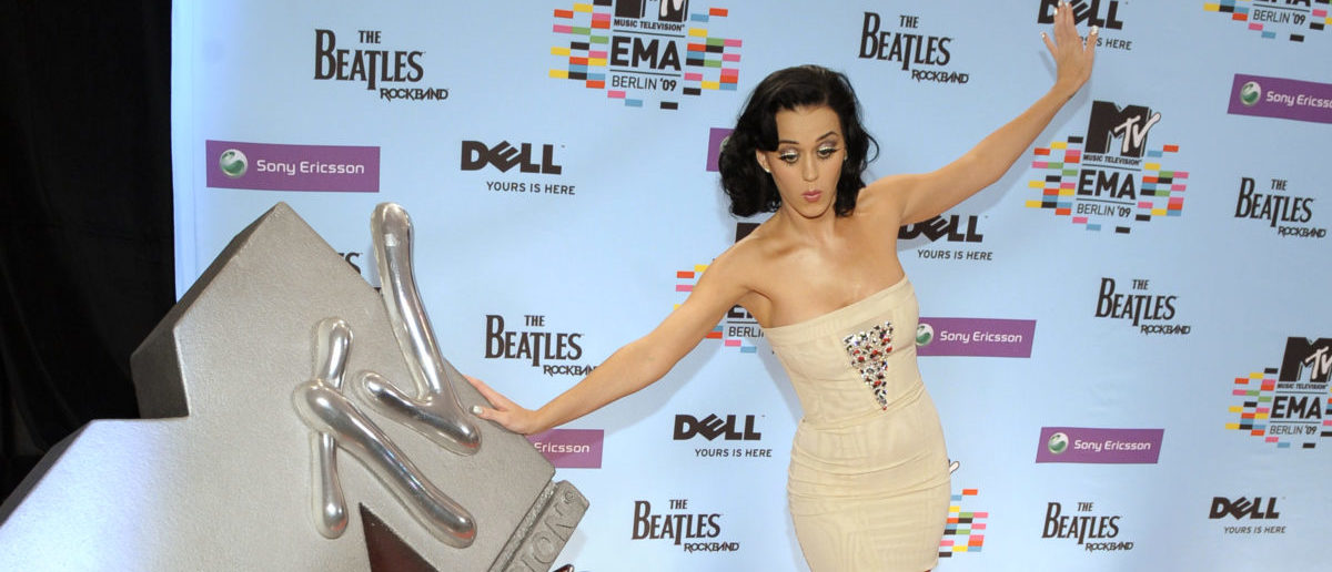 US singer Katy Perry poses during the MTV Europe Music Awards 2009 at the O2 Arena in Berlin on November 5, 2009. US singer Kate Perry will host the MTV European Music Awards 2009 show, which features live performances by some of the biggest names in popular music with most of the awards being decided by public vote. AFP PHOTO DDP / MICHAEL GOTTSCHALK GERMANY OUT (Photo credit should read MICHAEL GOTTSCHALK/AFP/Getty Images)