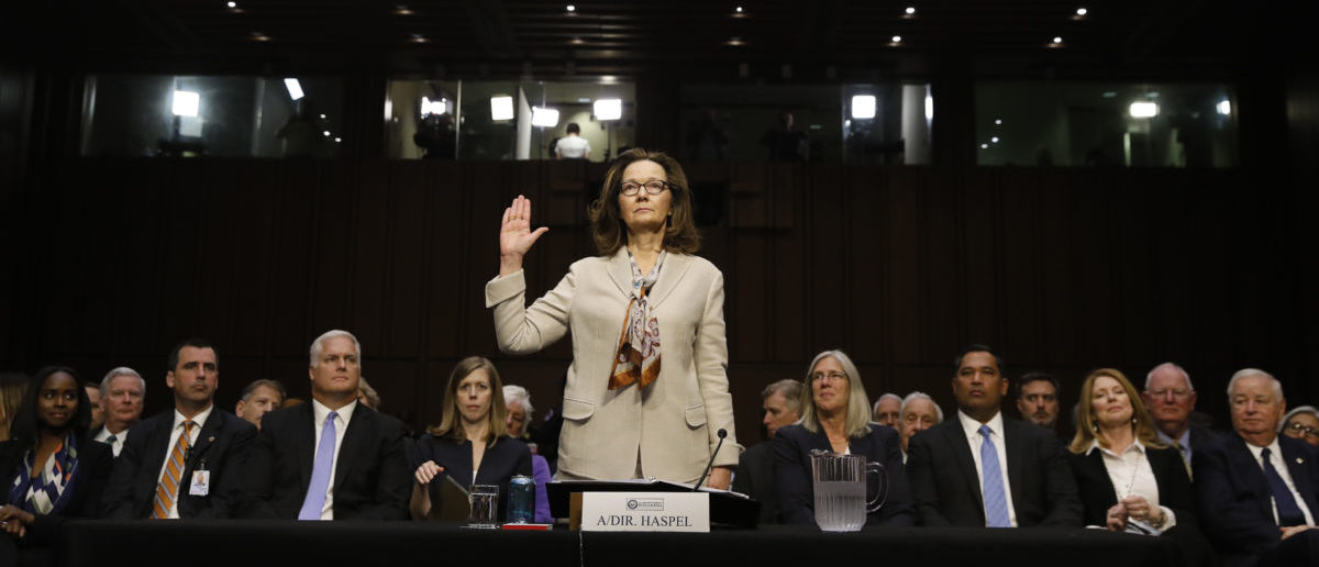 CIA director nominee and acting CIA Director Gina Haspel is sworn in prior to testifying at her Senate Intelligence Committee confirmation hearing on Capitol Hill in Washington, U.S., May 9, 2018. REUTERS/Kevin Lamarque