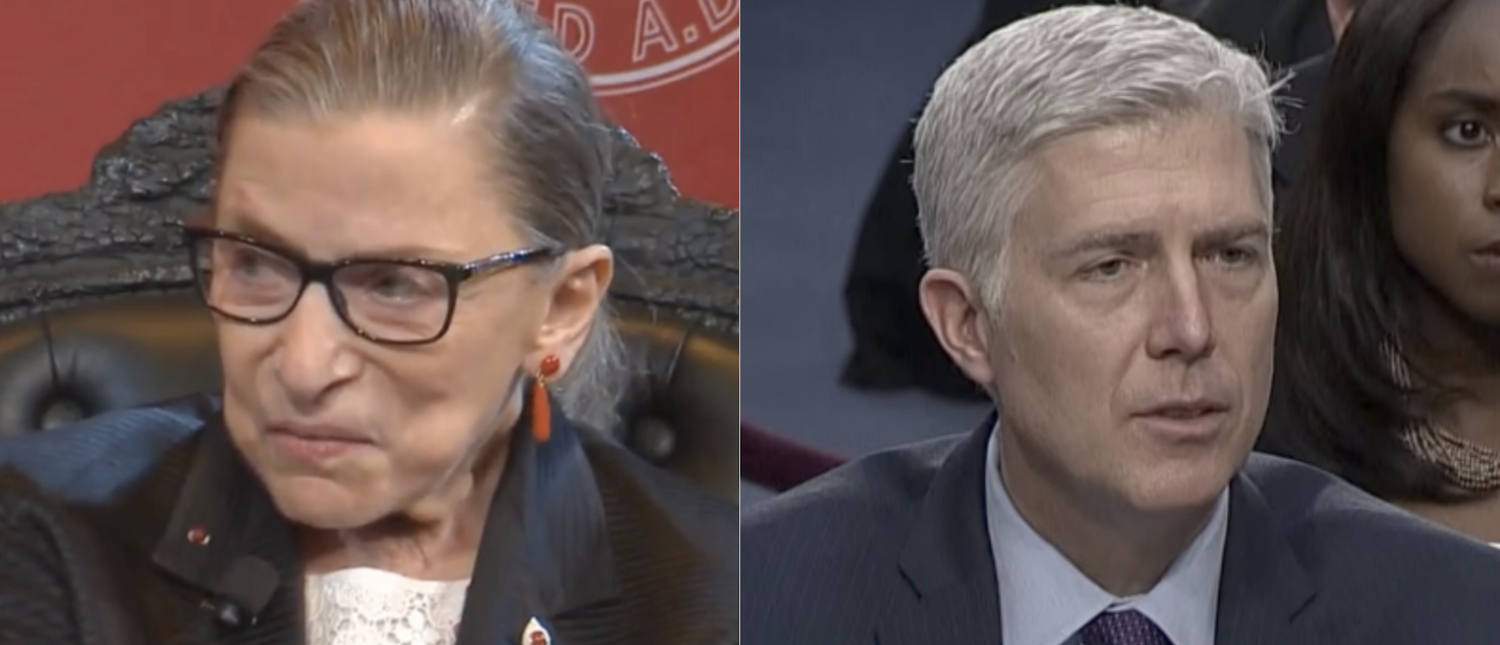 Justice Ruth Bader Ginsburg (L) and Justice Neil Gorsuch (R) (YouTube screenshots)