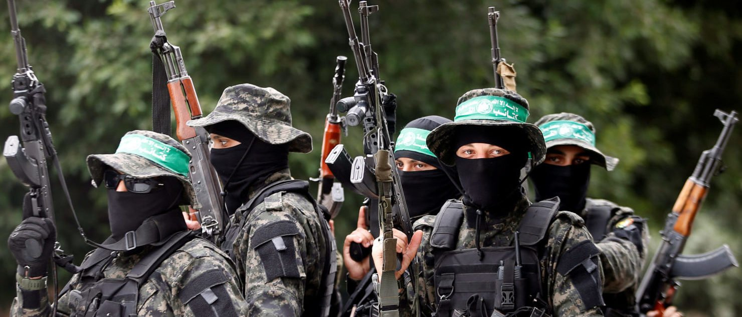 Palestinian Hamas militants attend the funeral of their comrade Mahmoud al-Qeshawi, who was killed in an explosion in Gaza city May 6, 2018.  REUTERS/Mohammed Salem