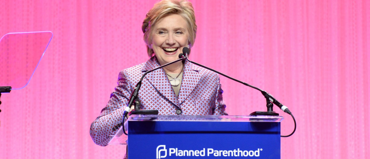 NEW YORK, NY - MAY 02: Hillary Clinton speaks onstage at the Planned Parenthood 100th Anniversary Gala at Pier 36 on May 2, 2017 in New York City. (Photo by Andrew Toth/Getty Images)