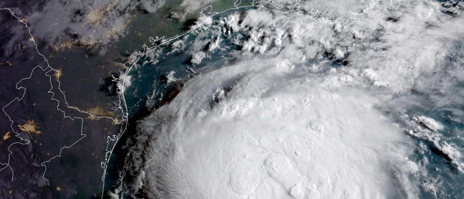 Hurricane Harvey is seen in the Texas Gulf Coast, U.S., in this NOAA GOES satellite image on August 24, 2017. NOAA/Handout via Reuters THIS IMAGE HAS BEEN SUPPLIED BY A THIRD PARTY. IT IS DISTRIBUTED, EXACTLY AS RECEIVED BY REUTERS, AS A SERVICE TO CLIENTS. - RC185F01A840